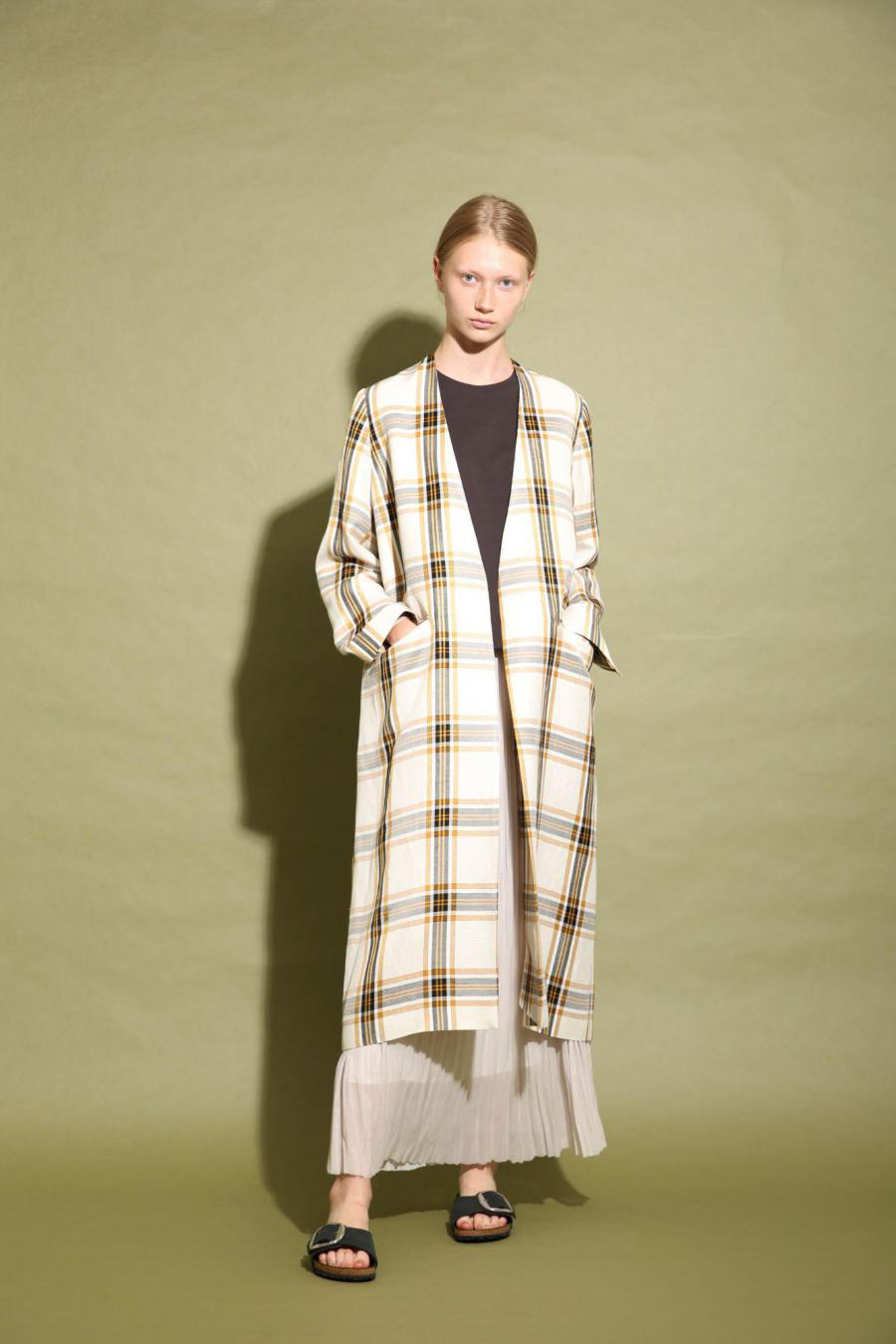 ACETATE LINEN BIG CHECK COAT