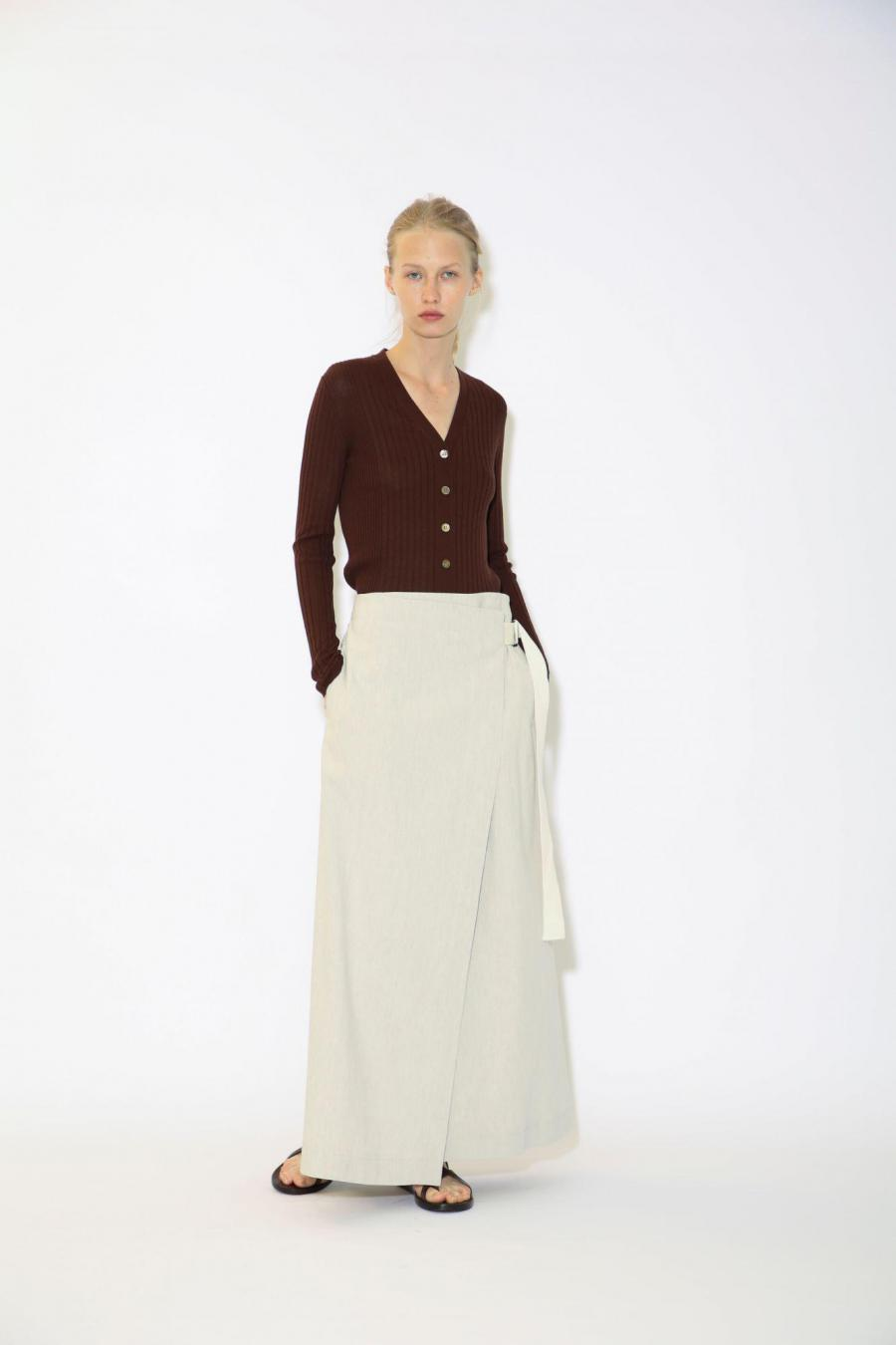 LINEN VISCOSE WRAP SKIRT