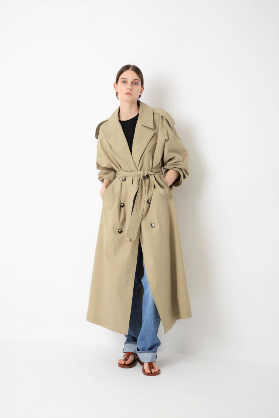 CRUMPLED FINISH COTTON COAT