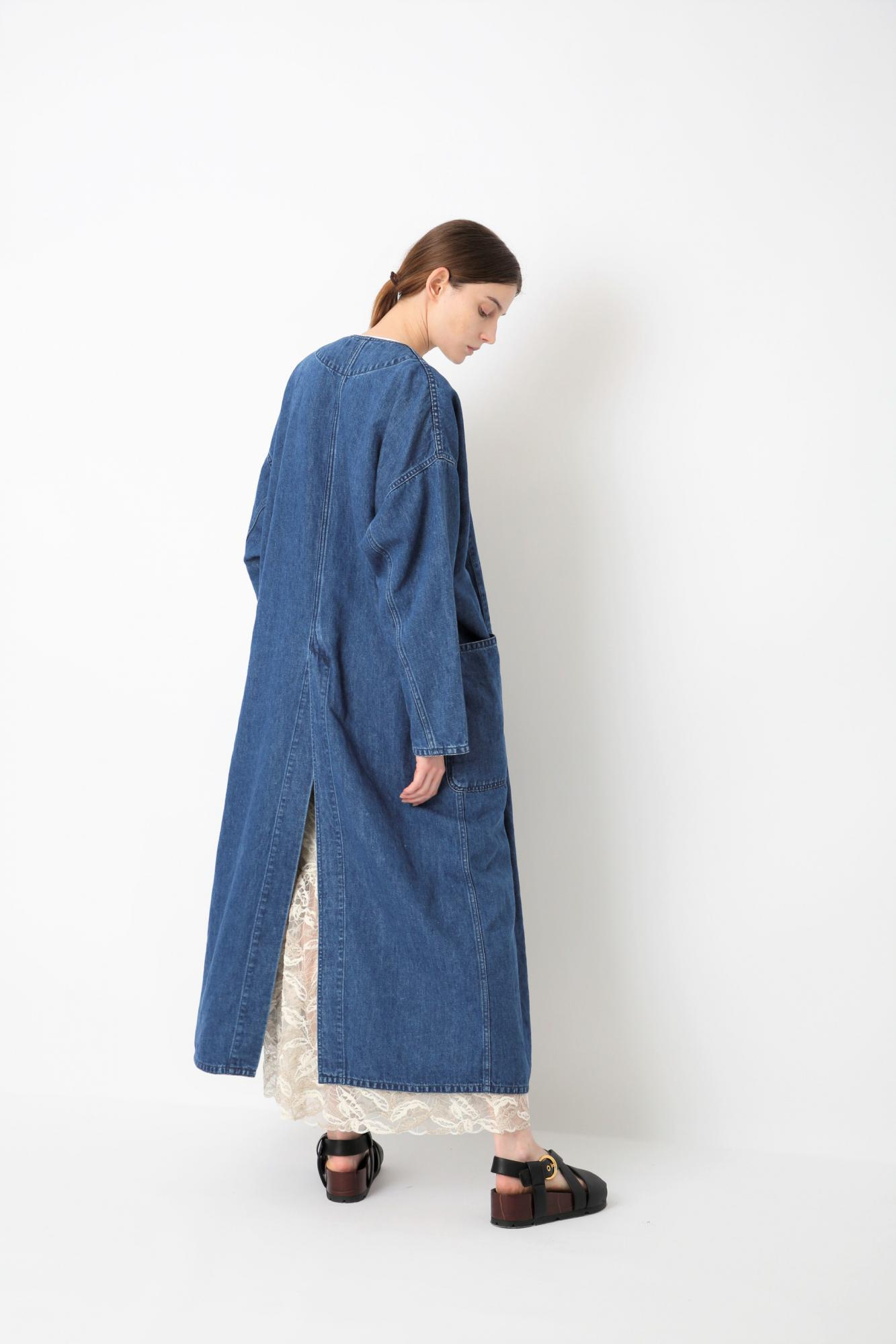 COTTON LINEN DENIM COAT